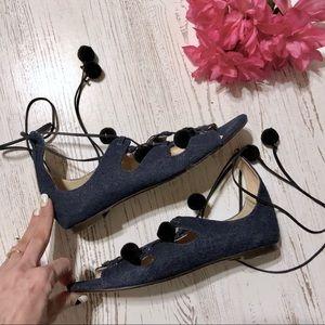 a05e953c8f9c J. Crew Shoes - J. Crew denim caged gladiator sandals w  pom-
